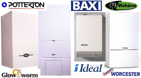 Image of multiple brands of A-rated gas boilers